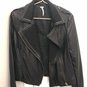 Free People Vegan Leather Jacket Size 0